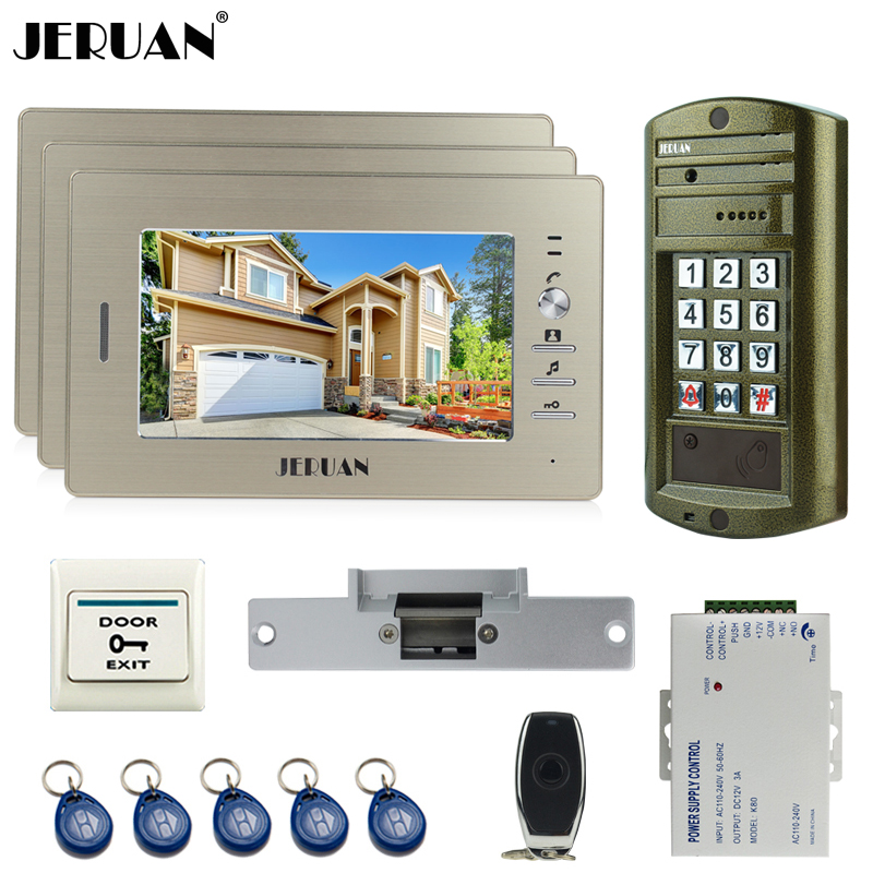 JERUAN Wired Home 7 inch TFT Video Intercom Door Phone Doorbell System kit 3 Monitor + Metal waterproof password HD Mini Camera 7 inch video doorbell tft lcd hd screen wired video doorphone for villa one monitor with one metal outdoor unit rfid card panel