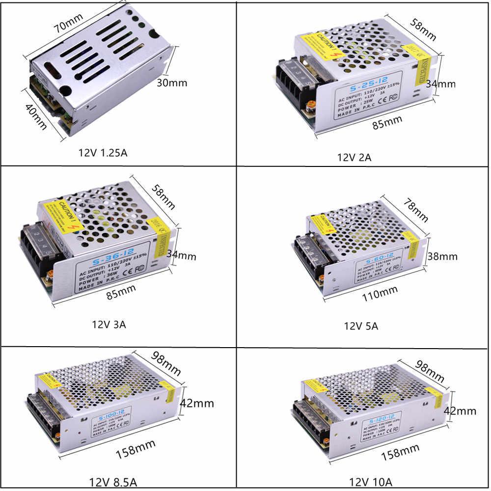 DC12V 1A 2A 3A 5A 8.5A 10A 15A 20A 30A осветительные трансформаторы светодиодный адаптер питания для светодиодных лент выключатель питания