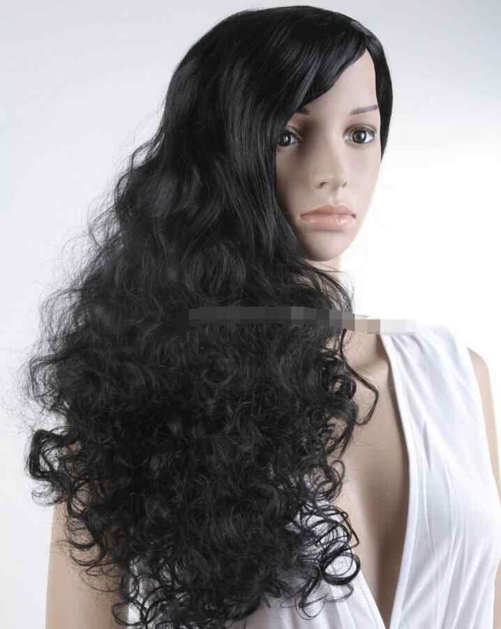 Peluca a la moda para mujer pelucas rizadas largas Cosplay para fiesta/disfraz Peluca de pelo negro envío gratis