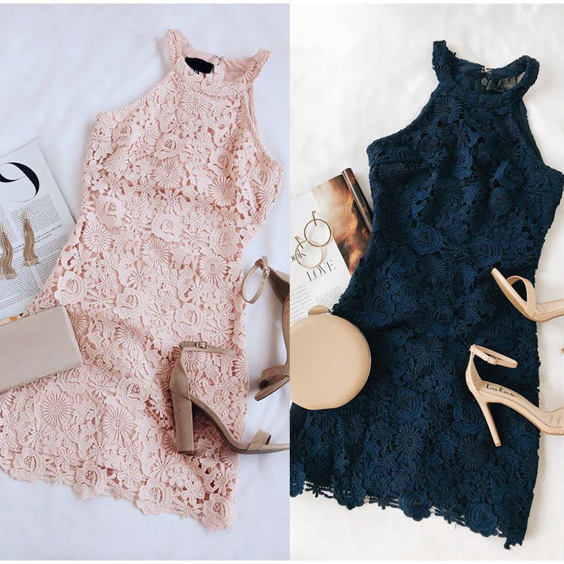 Elegant Lace Sleeveless Pink Mini <font><b>Dress</b></font> Women Summer <font><b>Plus</b></font> <font><b>Size</b></font> 5XL Solid Pencil <font><b>Dresses</b></font> 2020 Fashion <font><b>Sexy</b></font> Halter Bodycon Vestido image