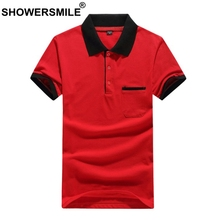 SHOWERSMILE  Red Polo Shirt Men Casual Business Summer T Cotton Breathable Male Pocket British Style Plus Size 3xl Tees