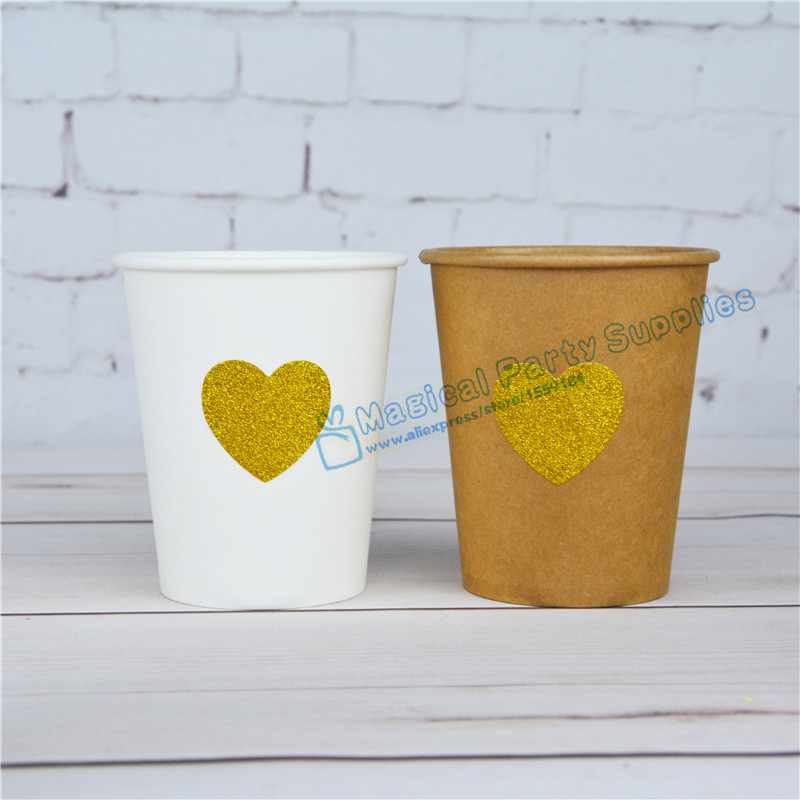 80pcs Glitter Gold Heart Celebrate Paper Cup Metallic Gold Drinking Cups for Wedding Birthday Baby Shower