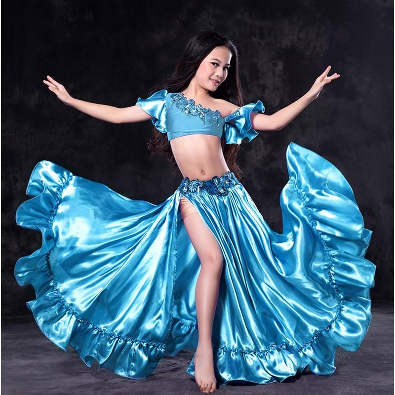 2018 детская восточных танцев костюм танец живота костюм 2 шт. Бюстгальтер Блузка и юбка fit Детская высота 100 -155 см