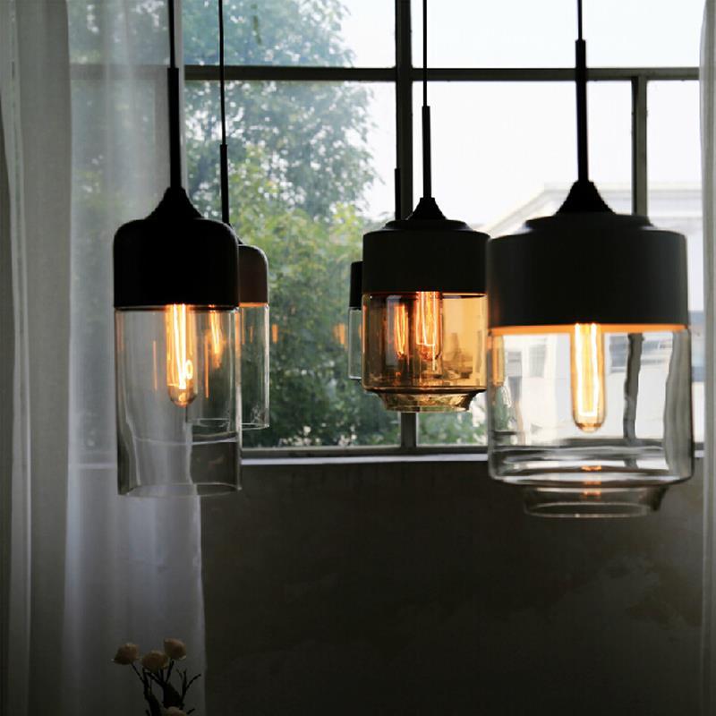 glass pendants lighting. New American Industrial Loft Vintage Pendant Lights Black White Iron Edison Glass Retro Lamp-in From Pendants Lighting