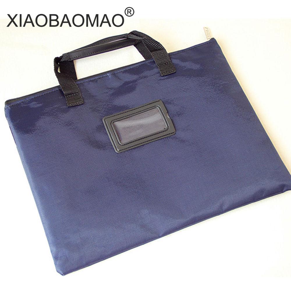 A4 File Bag Document Bag Organizer Zipper Office Stationery Folder Paper Pen Storage Business Document Bag Filing Meeting Bags