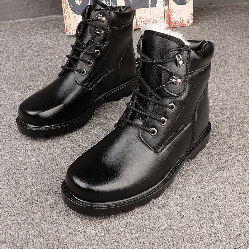 2019 Tactical Military Boots Winter Genuine Leather Combat Boots High Quality Fur Warm Waterproof mens Black