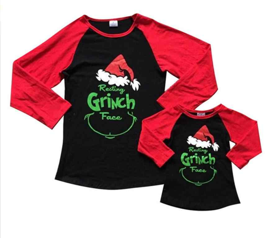 25895ae6 Christmas Grinch Clothes For Family Mother Daughter Long Sleeve Cotton T  Shirts 2018 New Year Mommy
