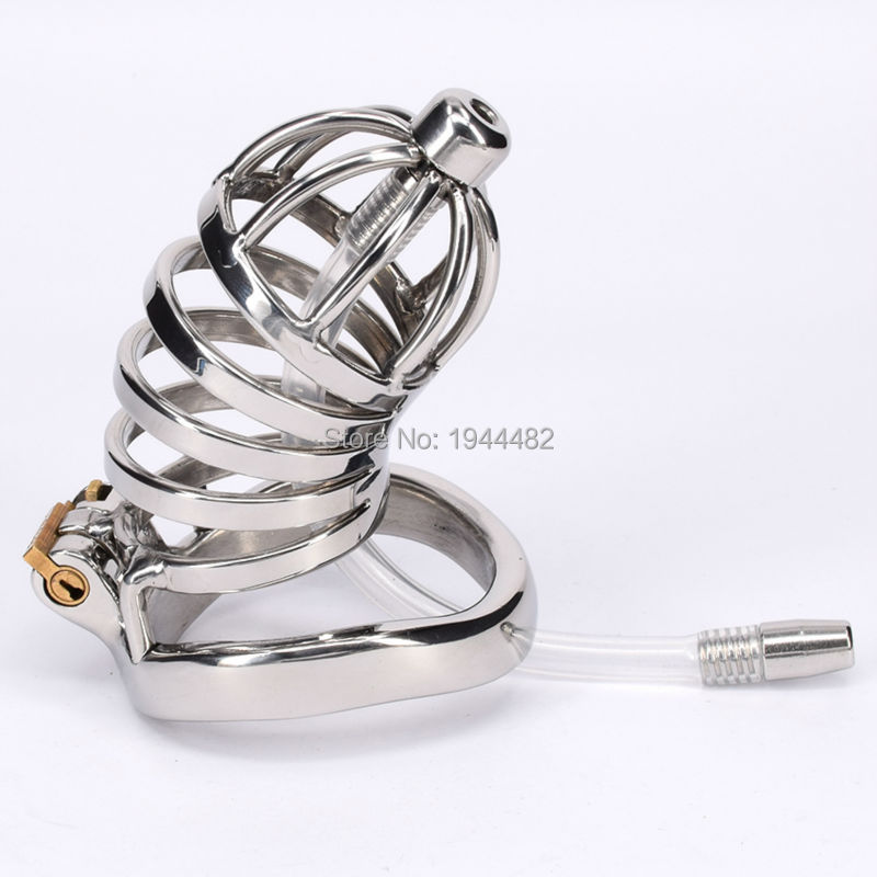 ФОТО Stainless Steel Male Chastity Belt Bondage Toys Metal With Removable Urethral Sound Cock Cage For Men Gay Adult Sex Product