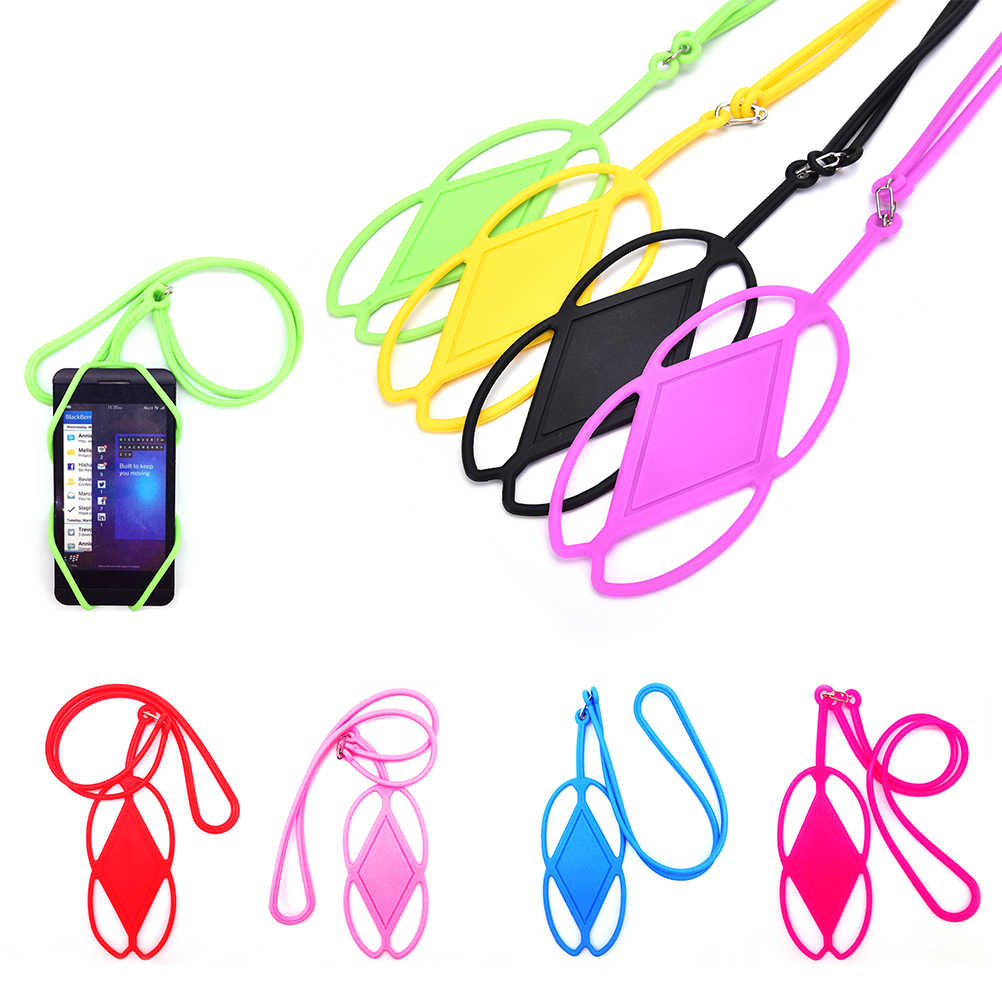 Silicone Cell Phone Lanyard Holder Case Cover Universal Phone Neck Strap Necklace Sling For iPhone 6 7 5s HTC Samsung Xiaomi