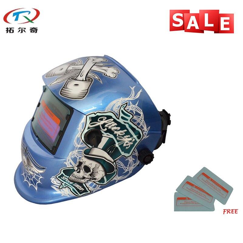 Consegna veloce Blu Cranio Maschera di Saldatura Chameleon Auto Oscuramento Full Face Best Saldatore Strumenti Casco di Saldatura TRQ-HD51 con 2233de