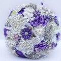 Púrpura Blanco broche ramo de Novia crystal ramos de Novia Ramo De La Boda por encargo Creativa
