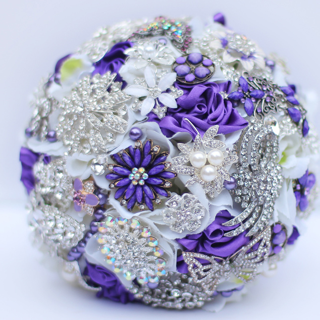 Purple White brooch bouquet Bridal crystal Wedding Bouquet custom ...