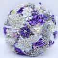 Purple White brooch bouquet Bridal crystal Wedding Bouquet  custom made Creative Bride 's bouquets