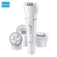 Kemei 5in1 Multifunction Female Epilator Electric Face Cleaning Brush Hair Removal Depilation Machine Depilatory Women Shaver