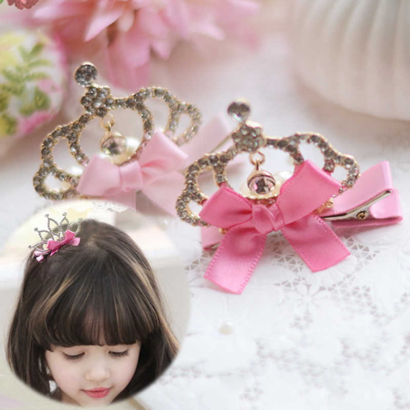 Sale 1PC Baby Girls Crown Hairpin Kids Children Pink Bowknot Princess Birthday Hair Clips