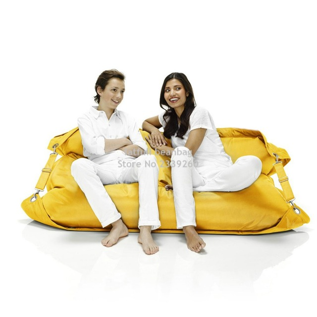 Cover Only No Filler Yellow Two Seat Outdoor Bean Bag Sofa Chair Belts