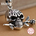 Authentic 925 Sterling Thai Silver Jewelry Retro Skull with a Rose Pendants for Necklaces Women Men Accessories Gifts SY13054