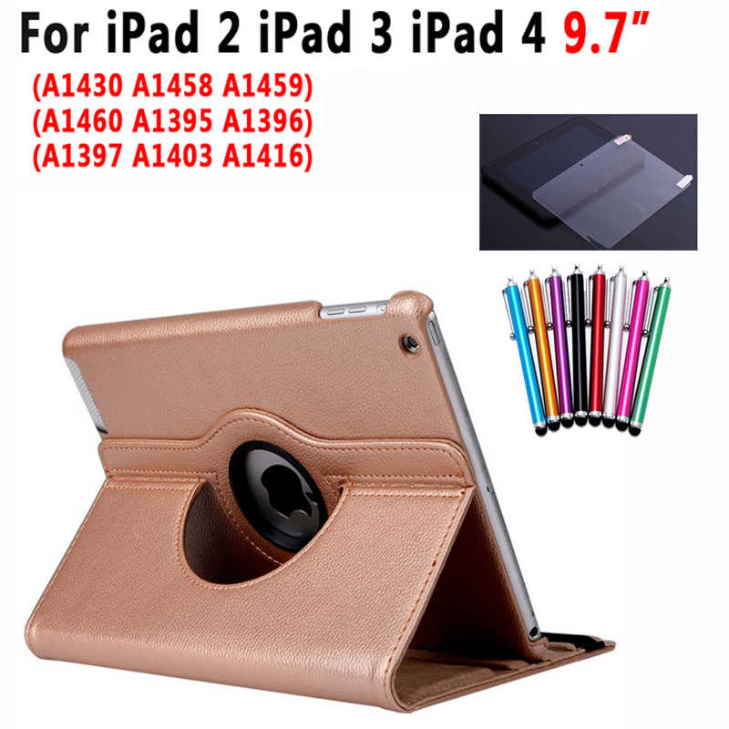 360 Degree Rotating Smart Stand Case Cover for Apple iPad 2 3 4 9.7 inch Coque Capa Funda+screen protector+stylus