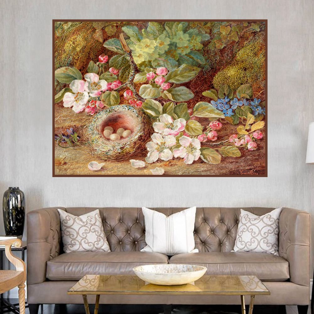 The Bird 39 s Nest Wildflowers Landscape Oil Canvas Painting for Living Room Wall Art Flowers Home Decoration Posters and Prints in Painting amp Calligraphy from Home amp Garden