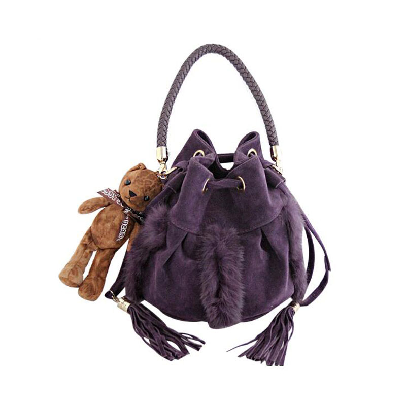 European and American minimalist tassel drawstring bucket bag suede plush bag crossbody bags for women woven