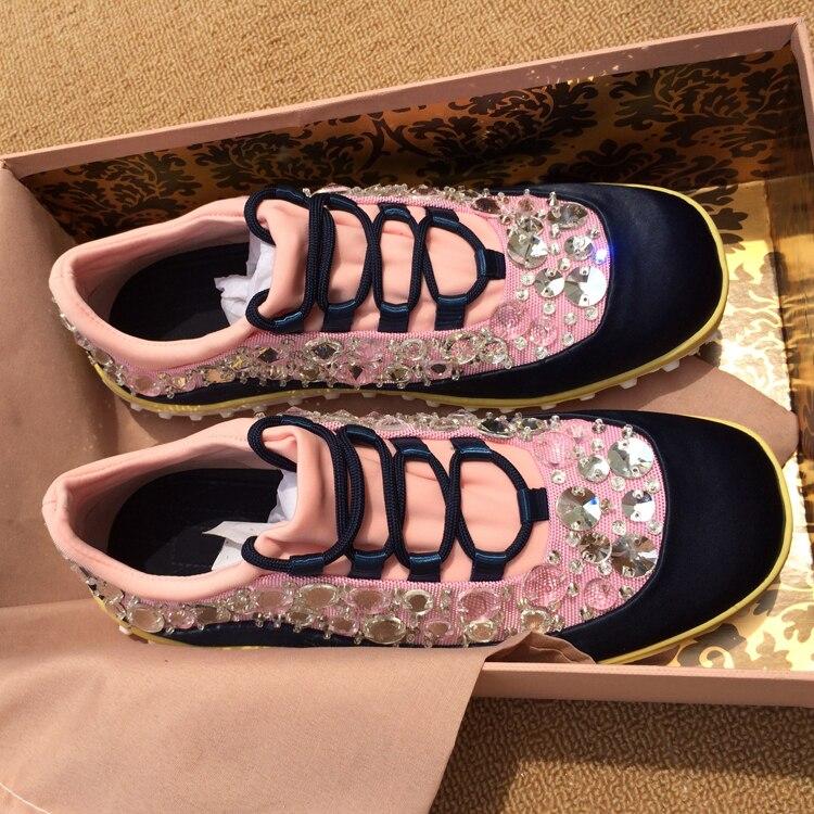 Zapatos Cuadrado As Casual Pic Lace Otoño Zapatillas Crystal Mujer Toe Pisos Primavera Shallow Seda Up Diseñador Superior Flats Pic as xqvXaxH