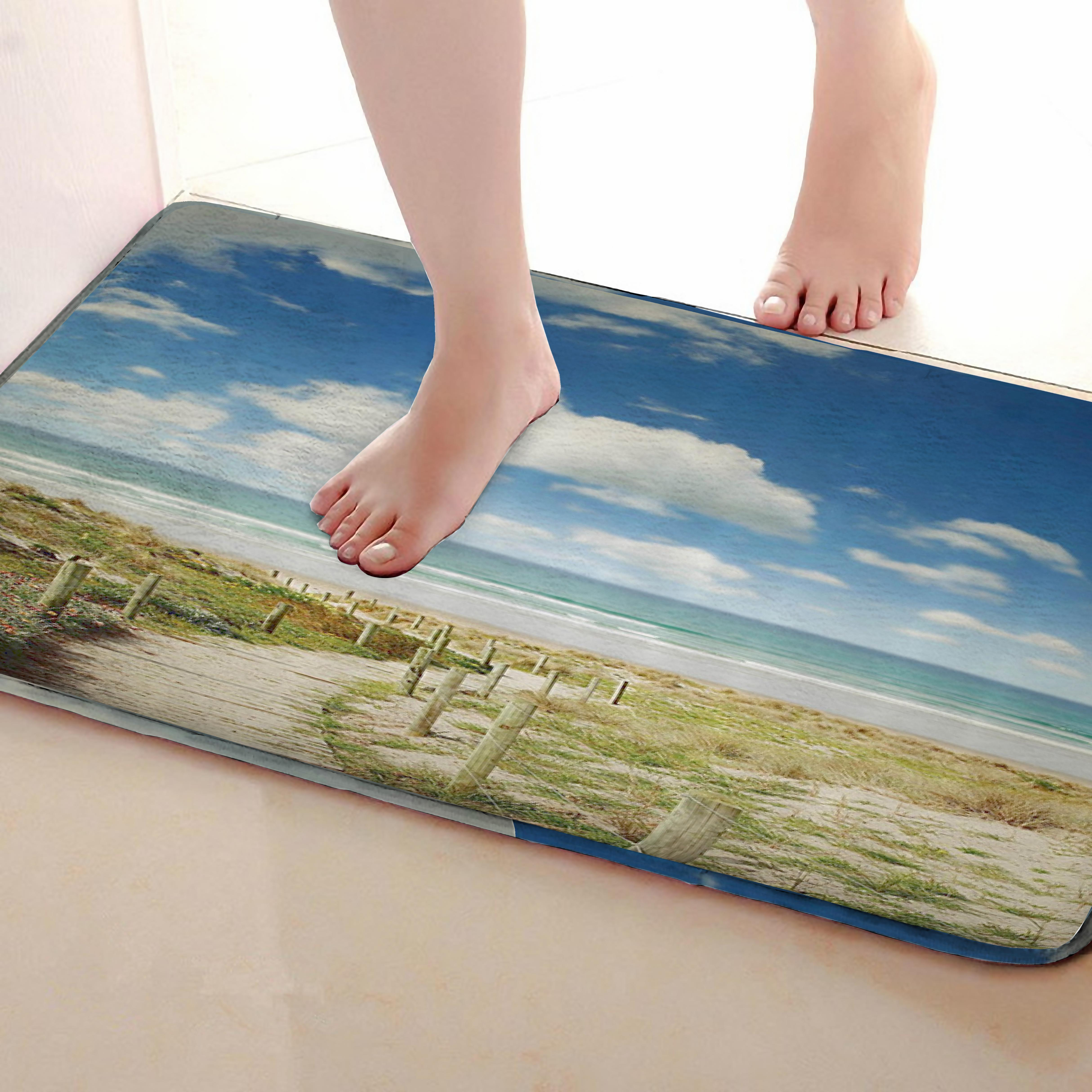 Seaside Style Bathroom Mat,Funny Anti Skid Bath Mat,Shower Curtains Accessories,Matching Your Shower Curtain