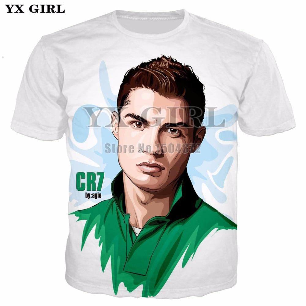 cdd7f0711edb 2018 verano manga corta personaje camisetas hombres/mujeres Casual camiseta  Cristiano Ronaldo 3d ...