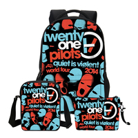 VEEVANV Canvas School Backpacks For Teenage 3 PCS SET Twenty One Pilots Printing Shoulder Bags Girls