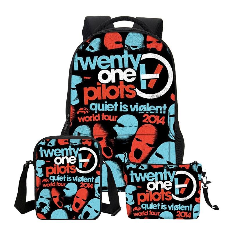 VEEVANV Canvas School Backpacks for Teenage 3 PCS/SET Twenty One Pilots Printing Shoulder Bags Girls Boy Cool Cortoon Bookbags veevanv new fashion women s backpacks audrey hepburn printing backpacks for teenage boy girls casual bags for fans best gifts