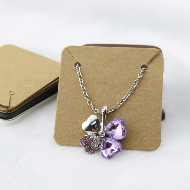 Whole 100pcs Kraft Paper Cards 5x5cm Cardboard Jewelry Card Necklace Display Packaging Square Earrings