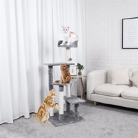 PAWZRoad Pet H125 Cat Climbing Tree Play Toys Scratching Solid Wood Cats Climb Frame Good Quality Pet Supplies Domestic Delivery