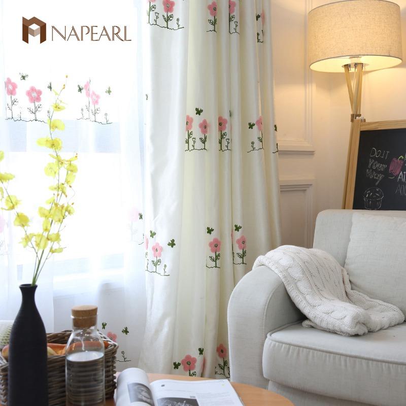 bordados cortinas de color rosa nios habitacin dormitorio de la muchacha de lino blanco diseo floral