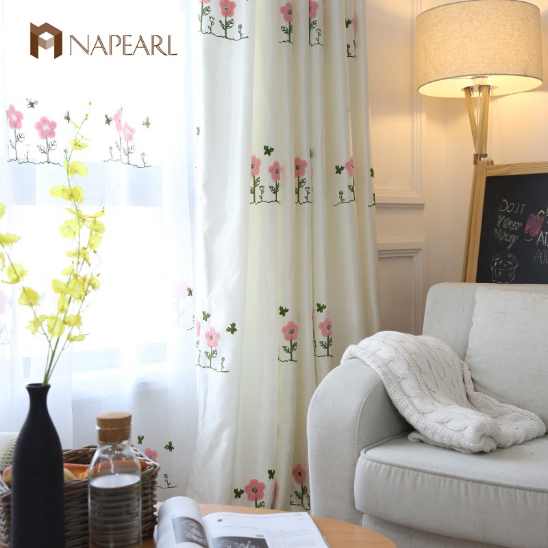 Embroidered pink curtains kid room girl bedroom white for Kid curtains window treatments