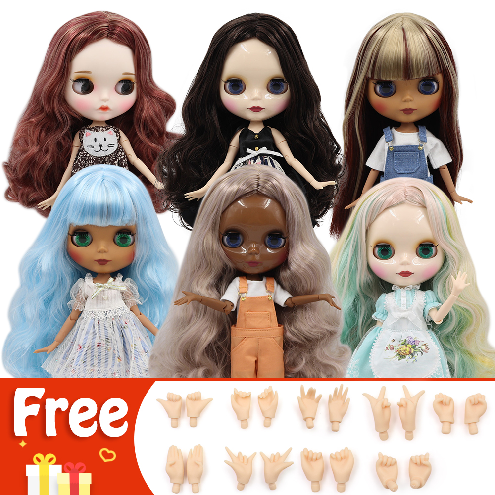 Ash Silver Short Hair ICY Blythe doll tanned skin joint body 1//6 BJD toy gift