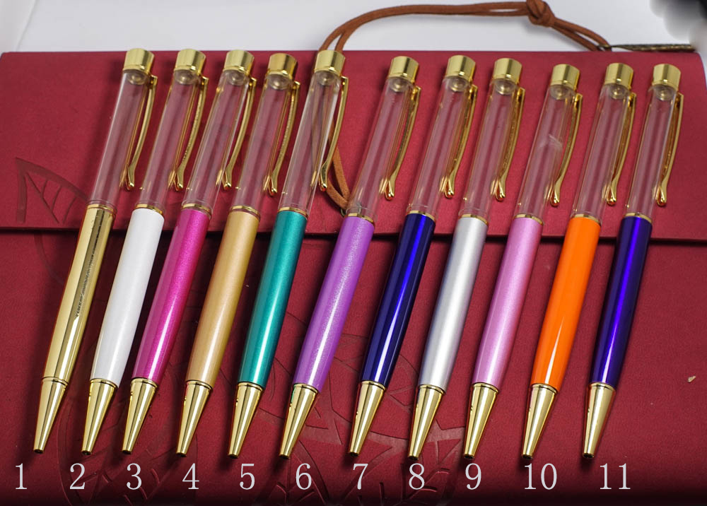 Empty customizable Tube pens Cute New design Metal Crystal Pen Ballpoint Pens With no gold Foil