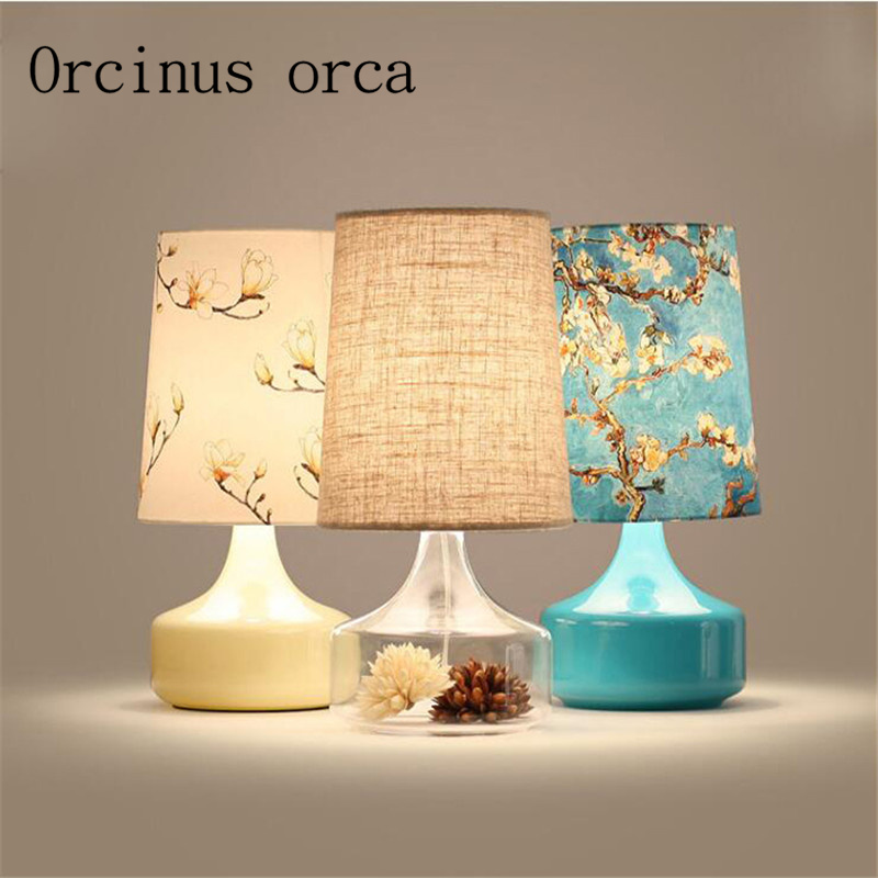 Nordic brief printed desk lamp bedroom bedside pastoral personality creative decoration transparent glass table lamp european pastoral village glass desk lamp bedroom bedside lamp warm modern minimalist creative flowers desk lamp free shipping