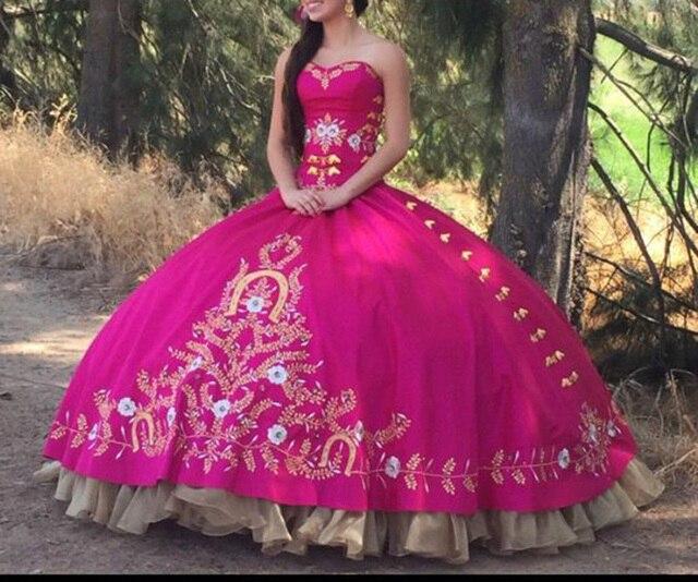b7a42cf842 Elegante fucsia Quinceanera vestidos novia hermoso de oro bordado vestidos  de bola vestido de Quinceanera