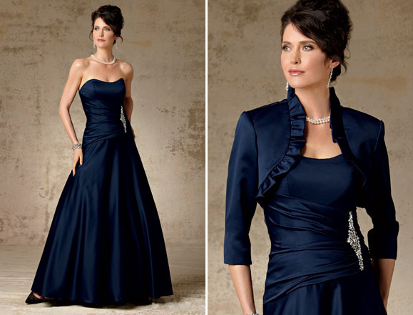 Taffeta Mother Of The Bride Dress With Jacket Navy Blue