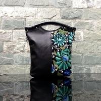 Women Genuine Leather Handbag Embroidery Flower Vintage Shoulder Messenger Bag Lady Totes Girl Travel Top Handle Bag Hand Bags