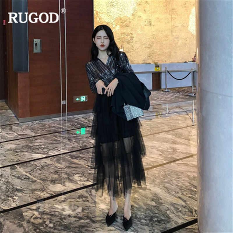RUGOD 2019 春女性ミディドレスファッションメッシュパッチワークケーキドレス女性のセクシーな V ネックスパンコールジャンパードレスパーティードレス vestido