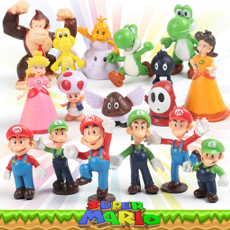 17 pcs/set New Super Mario Bros Toys Doll Anime PVC Mario Bros Figure Action Model Toy For Children Brinquedos Gift super mario bros action pvc figure toys 2 options 9pcs set 12cm height for xmas gift