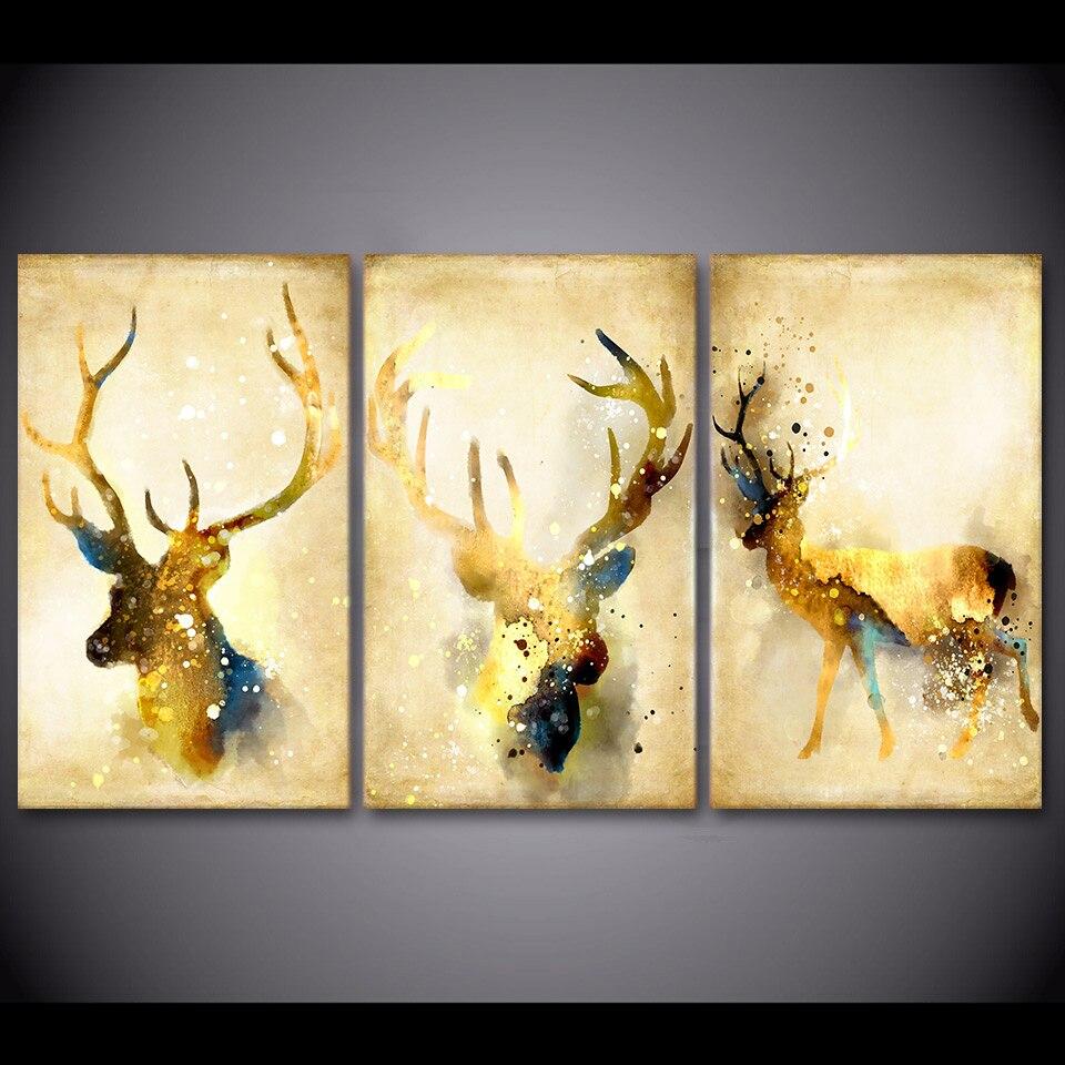 3 Pcs/Set Framed HD Printed Deer Head Wall Art Canvas Painting ...