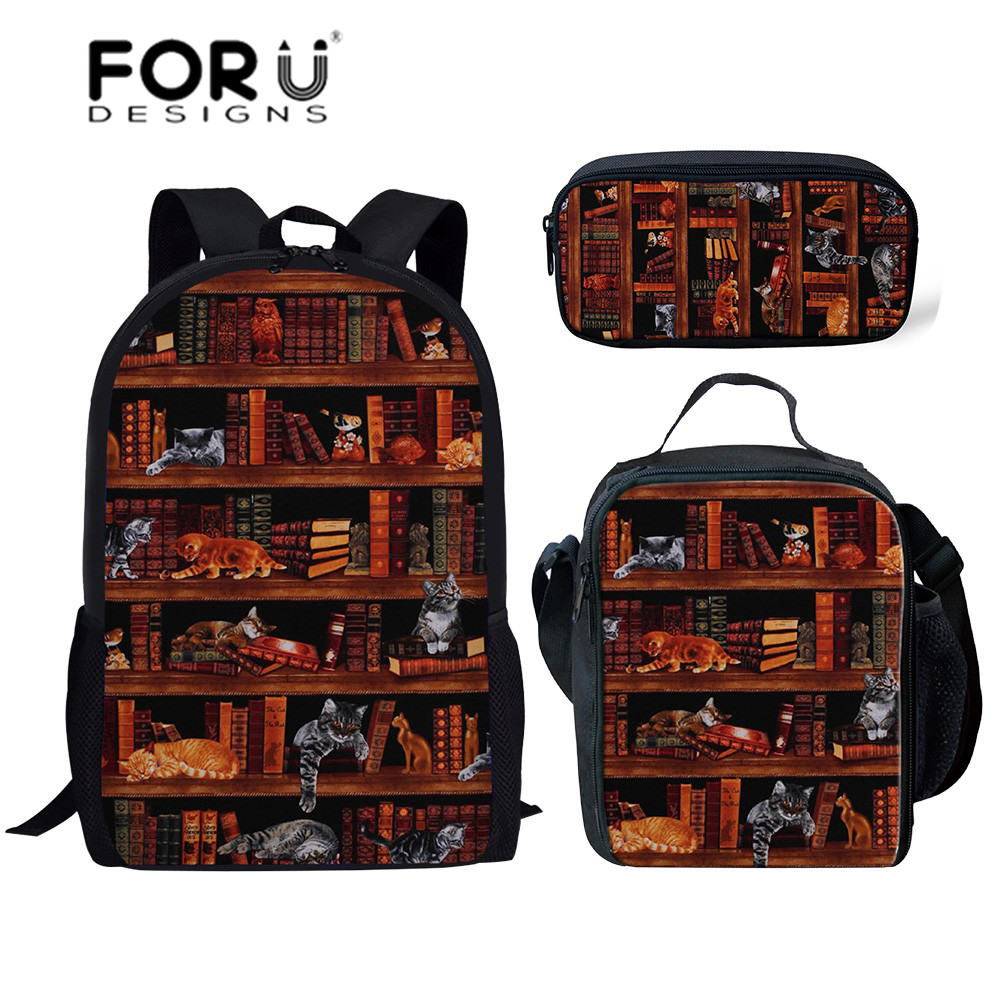 FORUDESIGNS Cute Kitty Printing Backpacks For School Library Books Pattern School Bags Kids 3pcs/set Large Book Bag Satchel 2019