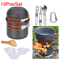 Outdoor Camping Tableware Utensils Picnic Set Pot Pan Camping Hiking Cookware Stove Knife camping besteck 13Pcs