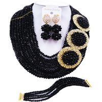 ACZUV Black Crystal Beaded Necklace African Wedding Beads Nigerian Bridal Party Jewelry Sets 10C 3PH003