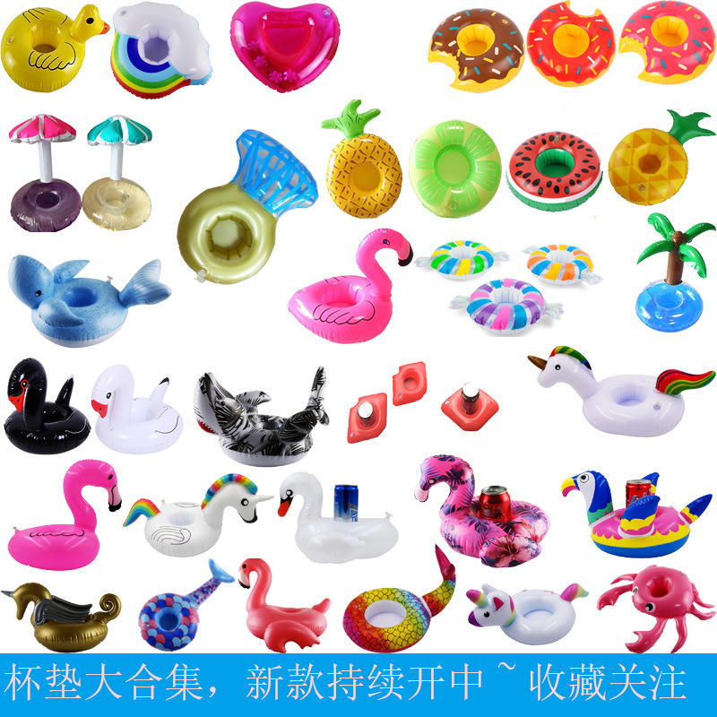 27 Types Mini Floating Cup Holder Pool Swim Float Water Toy Party Beverage Boats Baby Pool Toys Inflatable Unicron Drink Holder
