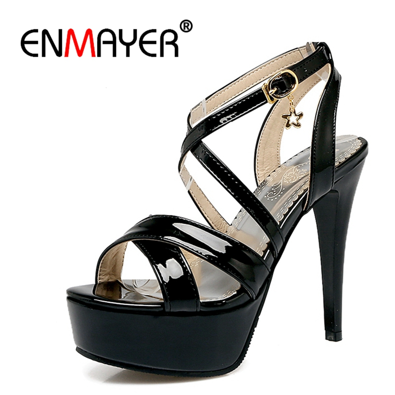 ENMAYER New Fashion High-heeled Sandals Shoes women Platform Shoes Office Shoes Summer Party Causal Plus size 34-43 Metal CR314