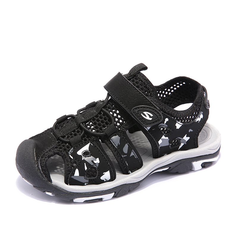 Summer Kids Sandals For Boys Breathable Children Sandals Anti-silppery Kids Beach Shoes Soft Hook & Loop Toddler Sandals Green