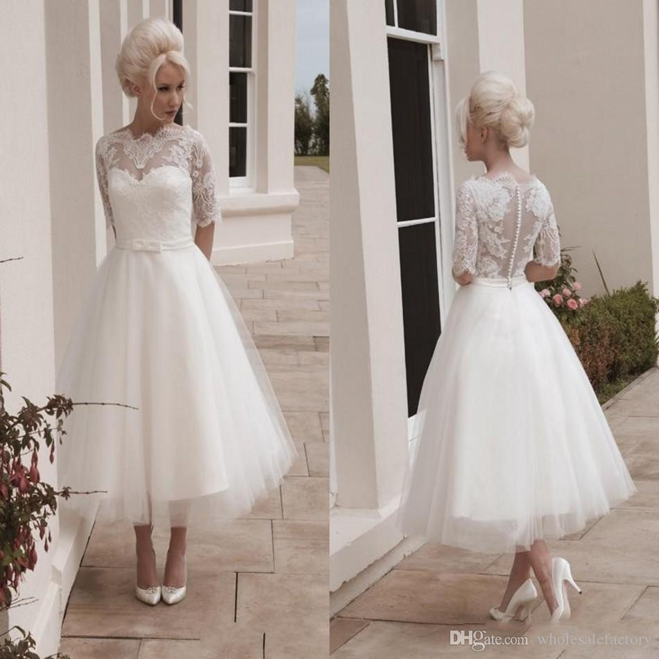 Vintage short wedding dresses ball gown tea length 1 2 for Wedding dresses tea length with sleeves