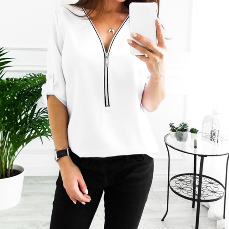 e23053750861 Women T Shirts New Fashion Sexy V Neck Zipper Casual Tee Shirts Tops Female  Clothing 2018-in T-Shirts from Women's Clothing & Accessories on  Aliexpress.com ...